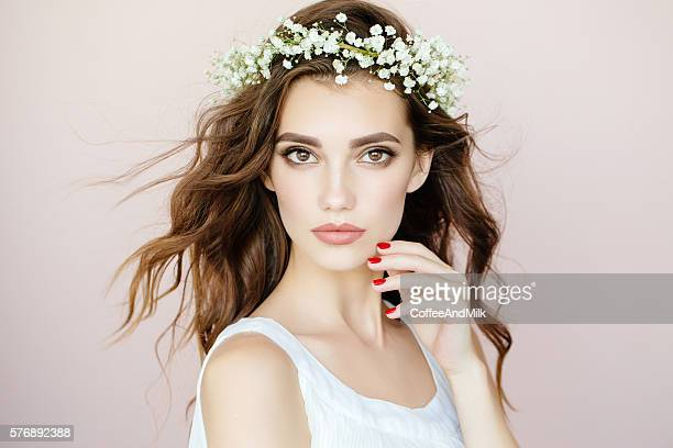 Beautiful woman on light background