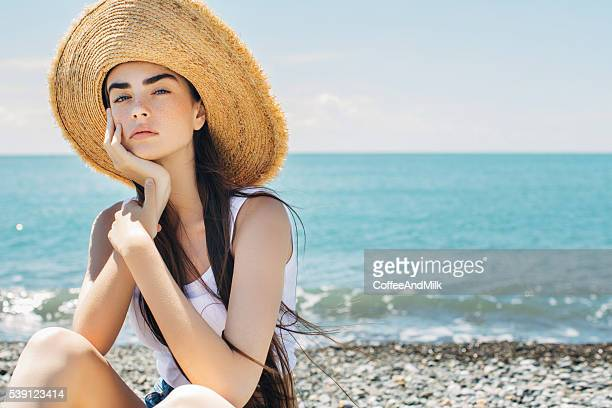 Beautiful woman on sea vacation