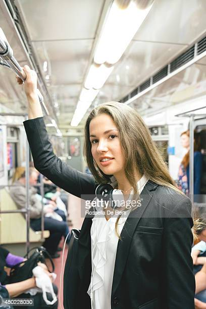 Beautiful Woman On Subway Train