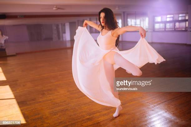 beautiful woman performing contemporary dance - teen pantyhose stock photos and pictures
