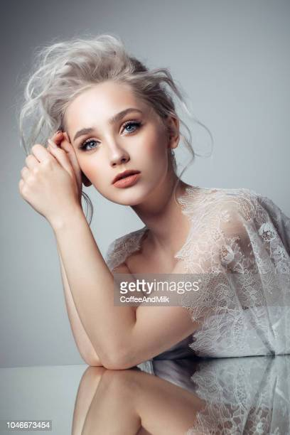 beautiful woman - gray hair stock pictures, royalty-free photos & images