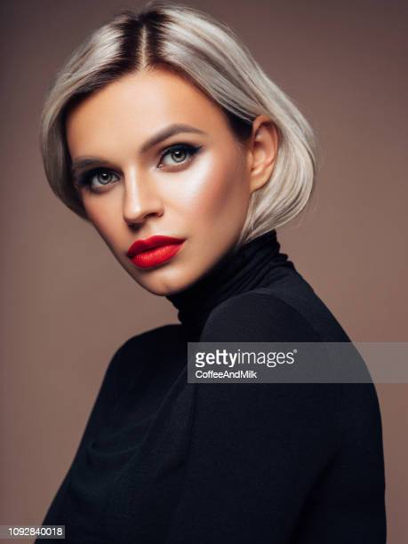 beautiful woman - short hair stock pictures, royalty-free photos & images