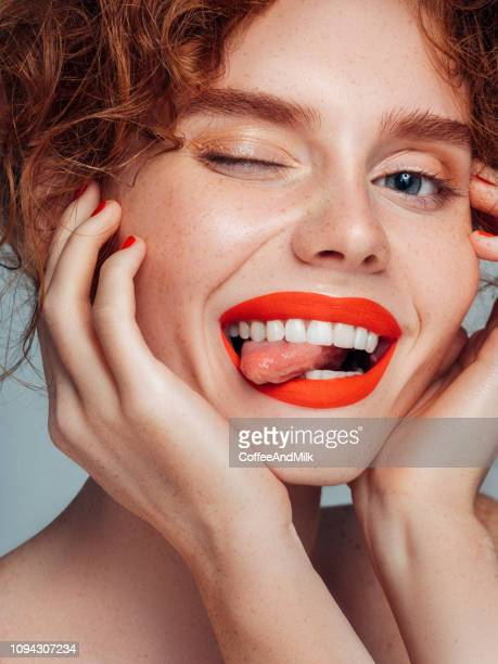 beautiful woman - lipstick stock pictures, royalty-free photos & images