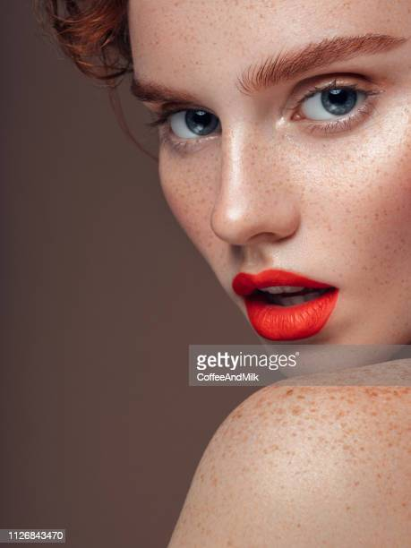 beautiful woman - red lipstick stock pictures, royalty-free photos & images
