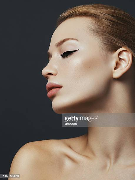 beautiful woman - eye liner stock photos and pictures