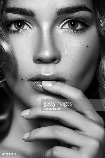 beautiful woman - black and white face stock photos and pictures