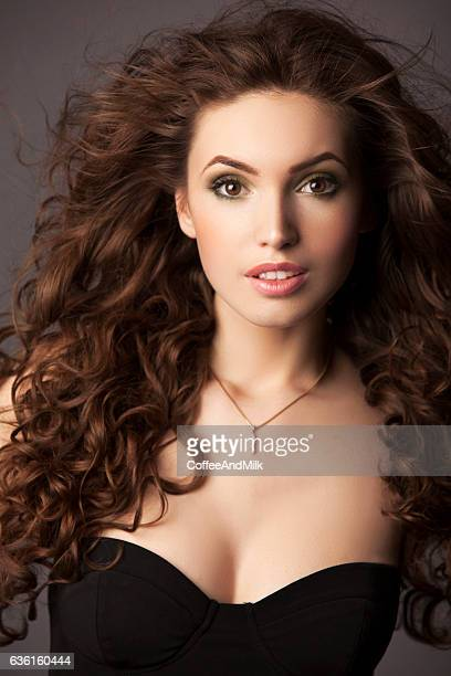 beautiful woman - gold chain stock photos and pictures