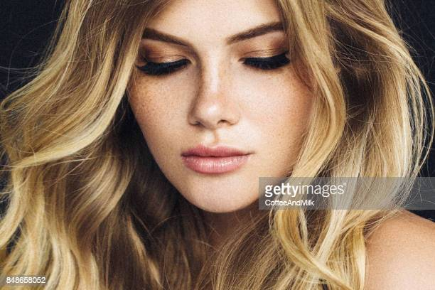 beautiful woman - blonde hair stock pictures, royalty-free photos & images