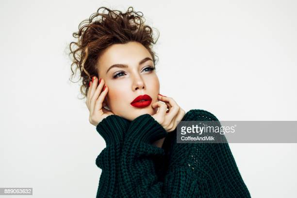 beautiful woman - red lipstick stock photos and pictures