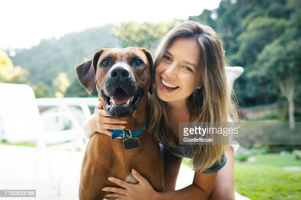 mulher bonita que joga com seu cão ao ar livre no quintal - ensolarado - fotografias e filmes do acervo
