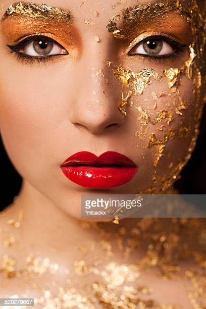 Beautiful Woman Red Lips Gold Leaf