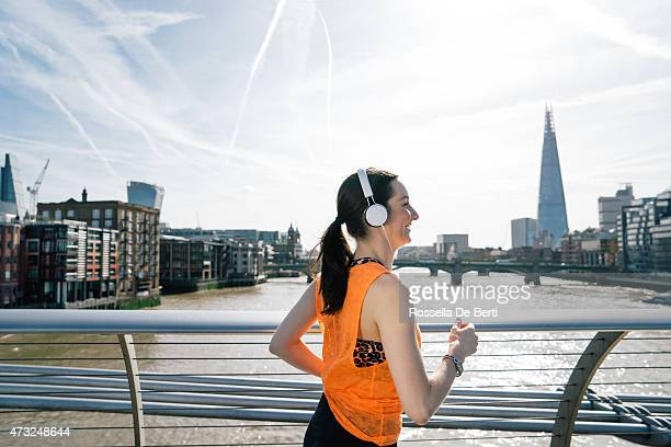 Beautiful Woman Running In London Downtown