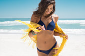 Beautiful woman running on beach