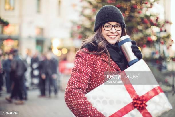 Beautiful woman shopping in the city