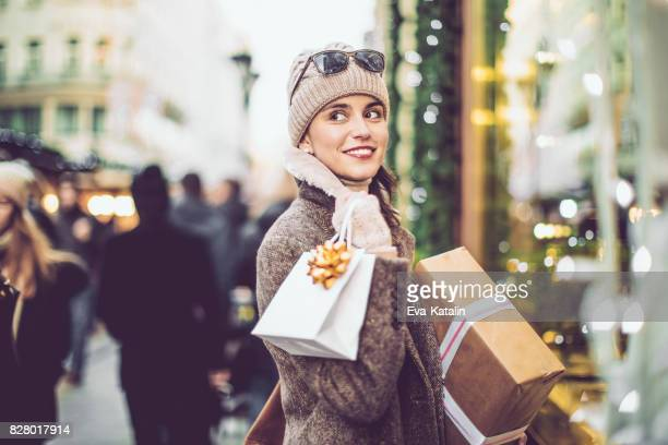 Beautiful woman shopping in the city