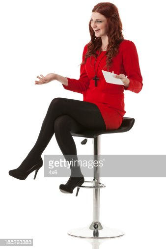 Beautiful Woman Sitting On Stool Stock Photo Getty Images