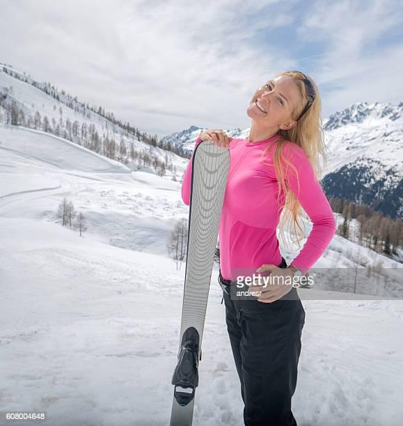 Beautiful woman skiing