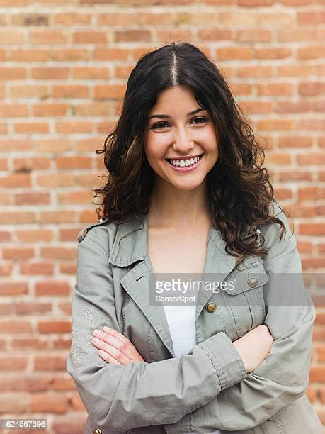 beautiful woman smiling in the street - 18 19 years stock pictures, royalty-free photos & images