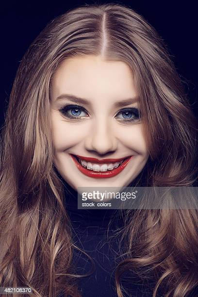 beautiful woman smiling - happy clown faces stock photos and pictures