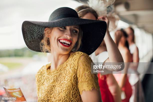 beautiful woman smiling - newcastle races stock photos and pictures