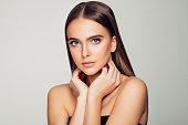 Beautiful woman. Soft make-up and perfect skin.