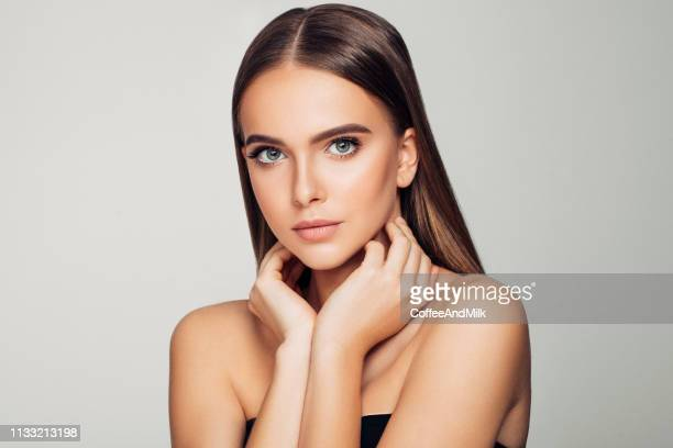 beautiful woman. soft make-up and perfect skin. - brown hair stock pictures, royalty-free photos & images