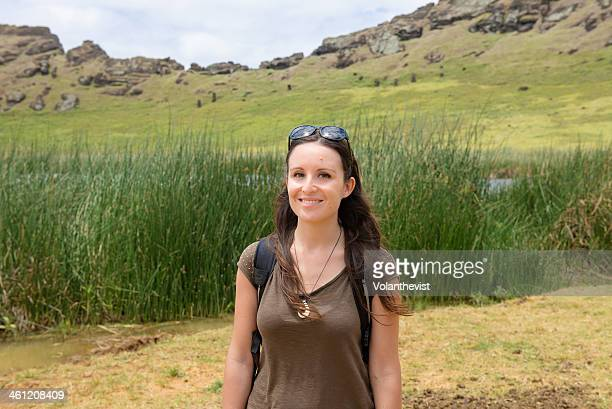 Beautiful woman traveler in Rano Raraku volcano