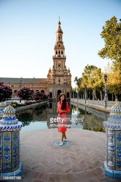 beautiful woman traveling. - seville stock pictures, royalty-free photos & images