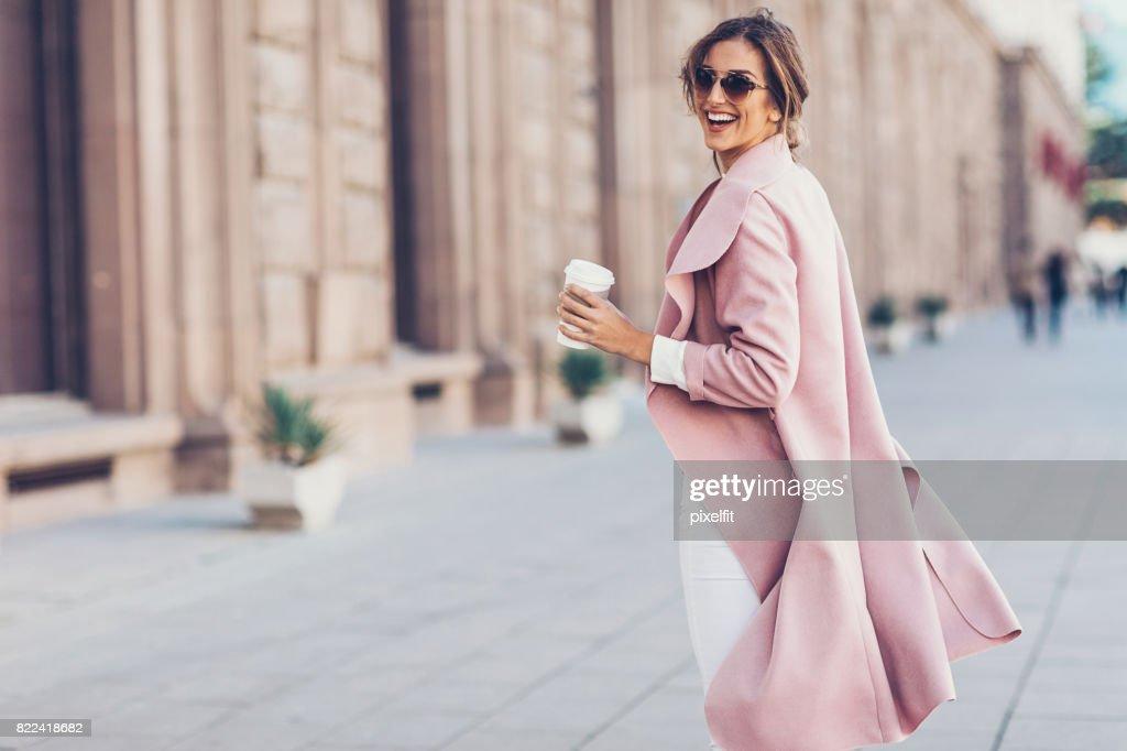 Beautiful woman turning back : Stock Photo