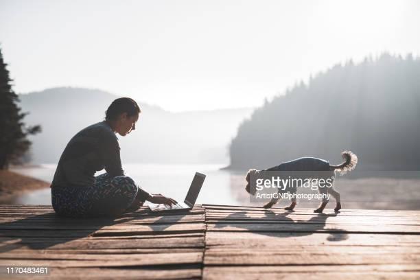 schöne frau mit laptop in der natur - im freien stock-fotos und bilder