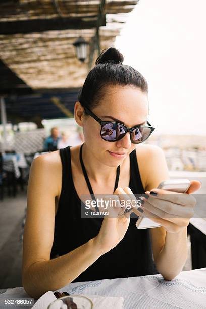 Beautiful woman using smart phone