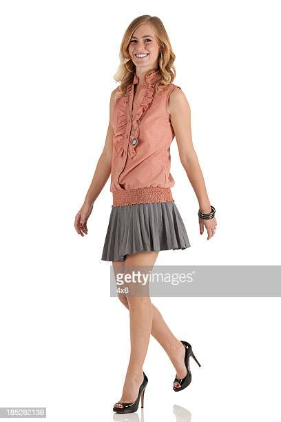 beautiful woman walking - high heels short skirts stock pictures, royalty-free photos & images
