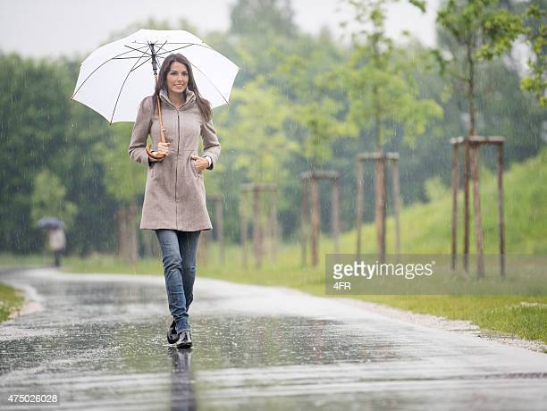 Beautiful Woman walking under her Umbrella in the Rain