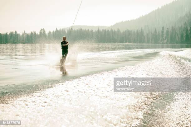 Beautiful woman waterskiing