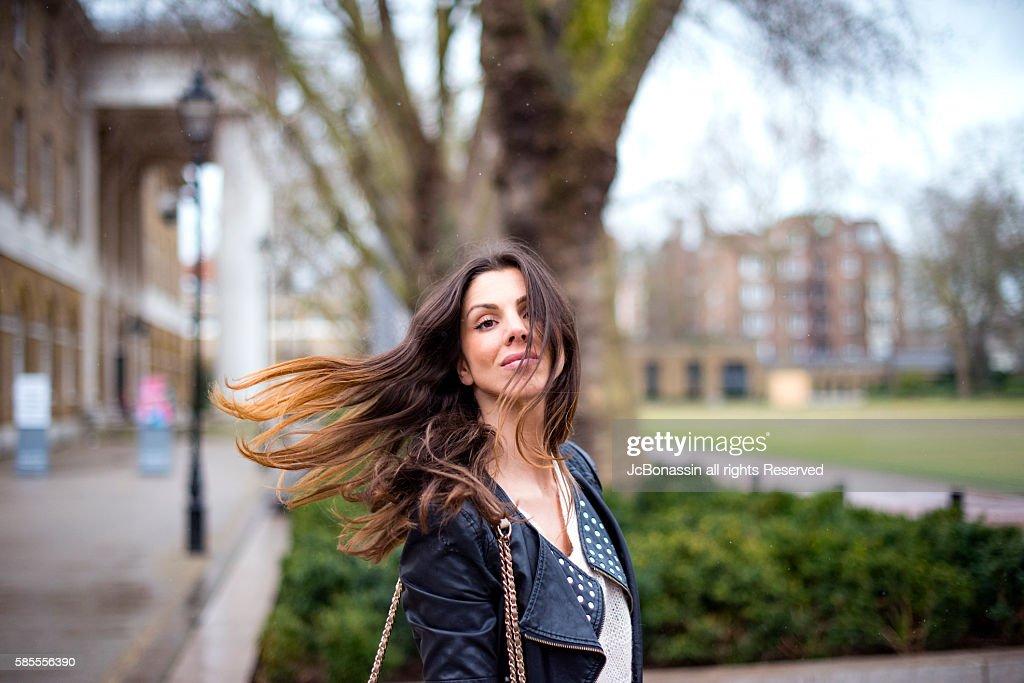 Beautiful Woman Waving : Stock Photo