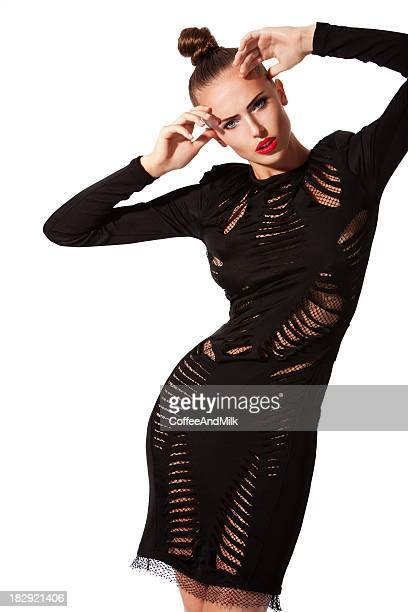 beautiful woman wearing  black sexy dress - cocktail dress stock pictures, royalty-free photos & images