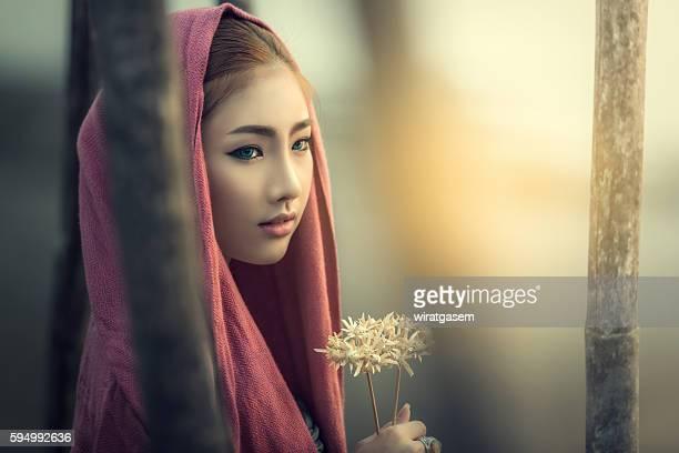 Beautiful woman wearing her traditional dress.