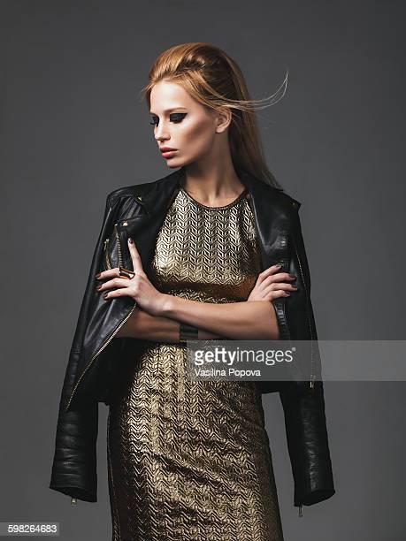 Beautiful woman wearing leather jacket