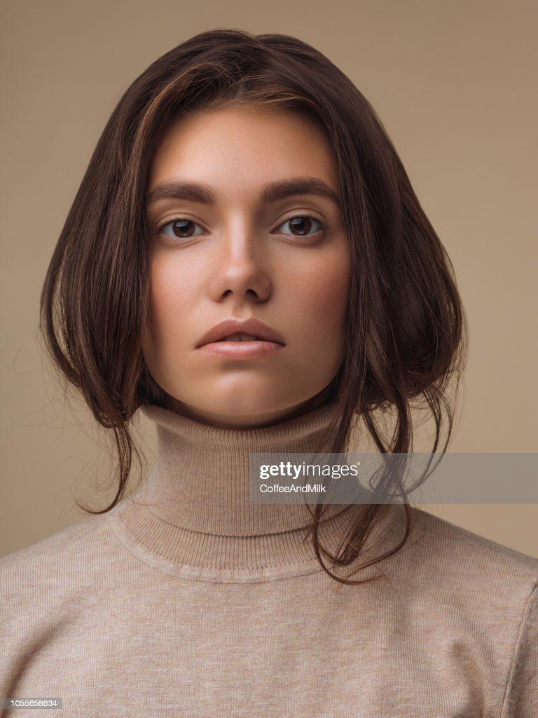 Beautiful woman wearing sweater : Stock Photo