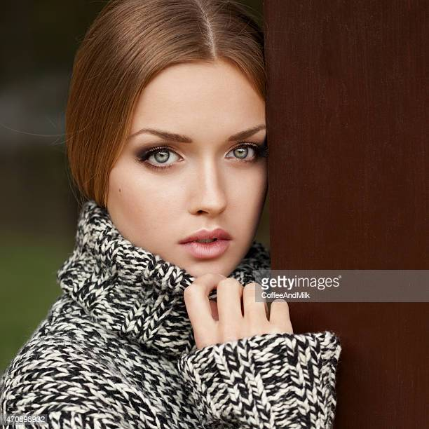Beautiful woman wearing sweater