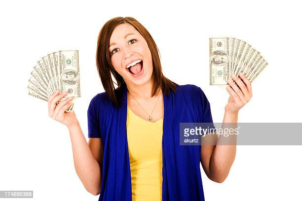 beautiful woman wins 2000 dollars cash! school loan lottery student - 2000 2009 stock pictures, royalty-free photos & images