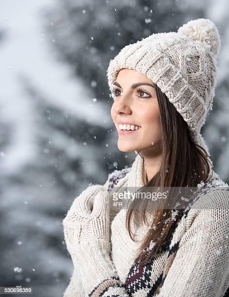 Schöne Frau Winter Portrait