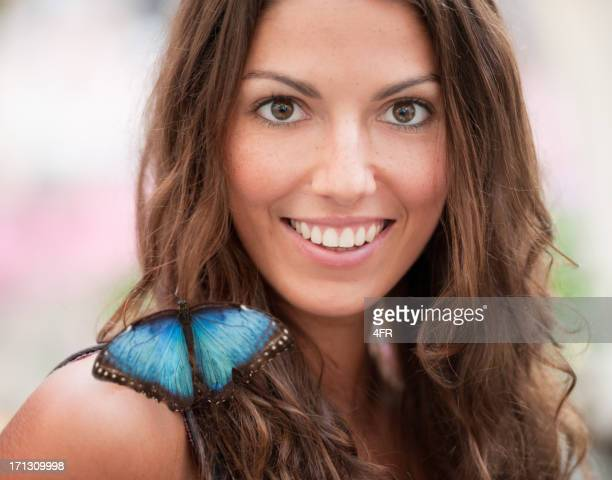 Beautiful woman with a real Blue Morpho Butterfly (XXXL)