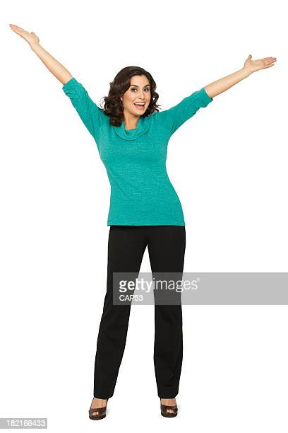 beautiful woman with arms raised - arms outstretched stock pictures, royalty-free photos & images