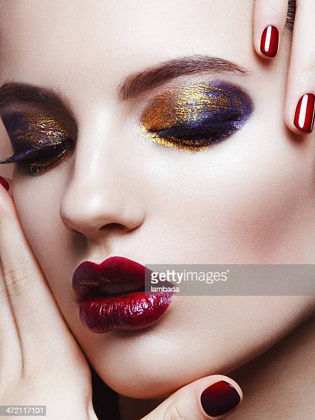beautiful woman with bright make-up - eye make up stock photos and pictures