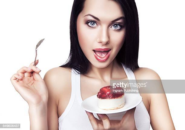 Beautiful woman with cake