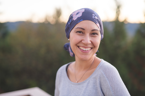Beautiful Ethnic Woman with Cancer Smiles 897271658