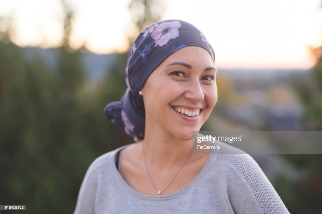 Beautiful Ethnic Woman with Cancer Smiles : Stock Photo