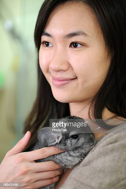 beautiful woman with chinchilla - xlarge - persian girl stock photos and pictures
