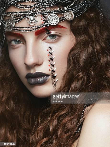 Beautiful woman with creative make-up